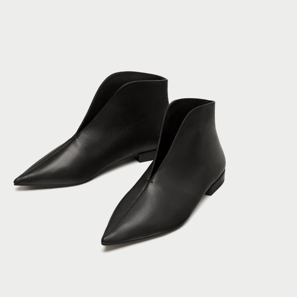 Zara Shoes | Black Leather Flat Ankle